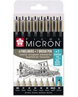 Sakura Pigma Micron Set of 6 Fineliner Pens & 1 Brush Pen with Free Every Day Pen (8 Pc)