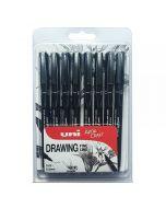Uni-Ball Pin Fine Line Drawing Pen Black Set of 8 (0.05 - 0.8mm)