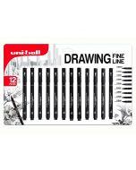 Uni-Ball Pin Fine Line Drawing Pen Set of 12 (Black)