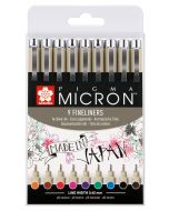 Sakura Pigma Micron Fineliner Drawing Pen Set of 9 Assorted Colours (#05)