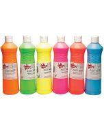 Scola Artmix Ready Mixed Tempera Paint Fluorescent Colour Set 6 x 600ml