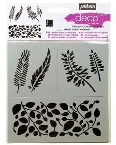 Pebeo Stencil leaves and feathers