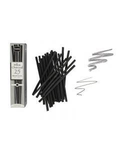 Coates Willow Charcoal 25 Medium Sticks (4 - 6 mm)