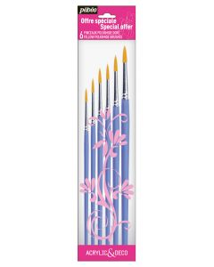 Pebeo Acrylic & Deco Yellow Polyamide Brushes 6 Pack