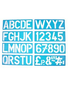 Major Brushes Plastic Signwriting Stencils with Uppercase Letters & Numbers 100mm