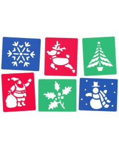 Major Brushes Plastic Washable Christmas Stencil Set of 6