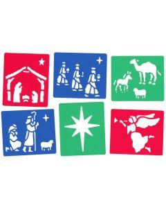 Major Brushes Plastic Washable Christmas Nativity Stencils Set of 6