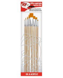 Pebeo Oil & Acrylic Yellow Polyamide Brushes 8 Pack