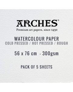 Arches Aquarelle 300gsm Watercolour Paper 56 x 76cm (Packs of 5)