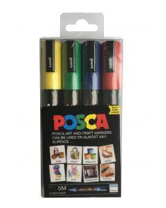 Uni POSCA PC-5M Medium 2.5mm Set of 4 Markers (Yellow, Green, Blue, Red)