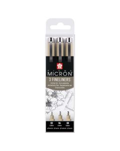 Sakura Pigma Micron Black Fineliner Pens Set of 3 (02, 04, 08)