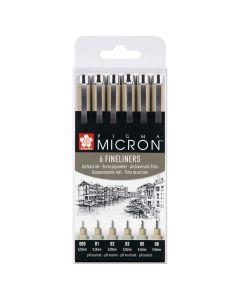Sakura Pigma Micron Black Fineliner Pens Set of 6