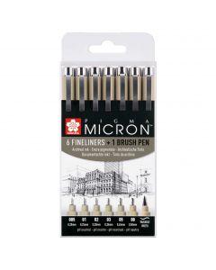 Sakura Pigma Micron Set of 6 Fineliner Pens & 1 Brush Pen (Black)
