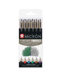 Sakura Pigma Micron Fineliner Pens Assorted Basic Colour Set of 6 (01)