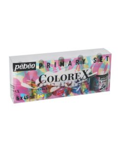 Pebeo Colorex Primary Set 5 x 45ml I Ink I Art Supplies from The Art Shop Skipton