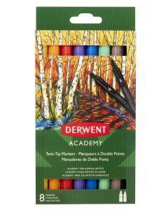 Derwent Academy Twin Tip Markers Set of 8 (Fine & Brush Tip)