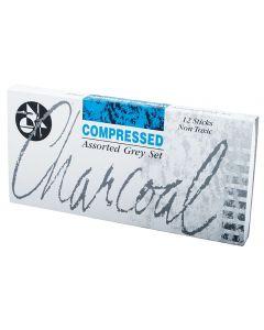 Jakar Compressed Charcoal Assorted Grey Set 12 Sticks