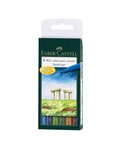 Faber Castell 6 Pitt Artist Brush Pens Landscape Set