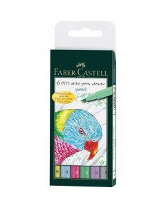 Faber Castell 6 Pitt Artist Brush Pens Pastel Set