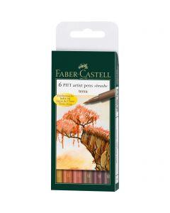 Faber Castell 6 Pitt Artist Brush Pens Terra Set
