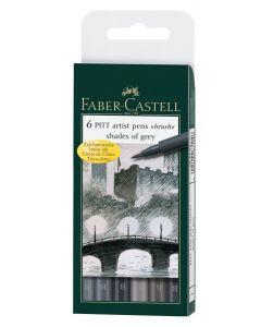 Faber Castell 6 Pitt Artist Brush Pens Shades of Grey Set
