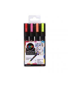 Uni POSCA Markers PC-5M Set of 4 Fluorescent Colours