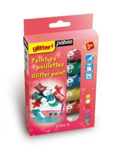 Pebeo Glitter Paint Set 6 x 20ml