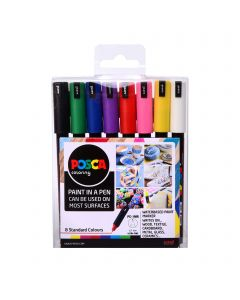 Uni POSCA Paint Markers PC-1MR Ultra-Fine Set of 8 Standard Colours