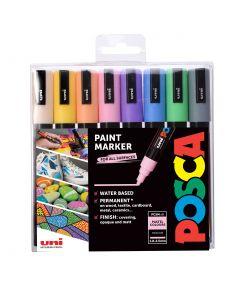 Uni POSCA Markers PC-5M Set of 8 Pastel Colours