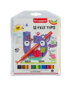 Bruynzeel Felt Tip Pens Wallet Set of 12 Colours