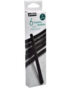 Pebeo Soft Charcoal Set of 6 (6-8mm)