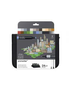 Winsor & Newton Promarker Architectural Tones Wallet 24 Set