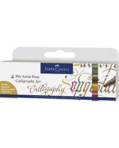 Faber-Castell 4 Pitt Artist Pens Calligraphy Colour Set