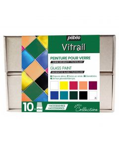 Pebeo Vitrail Collection Set 10 x 45ml & Accessories