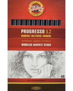 Koh-I-Noor Progresso Woodless Graphite Pencil 6B Set of 12