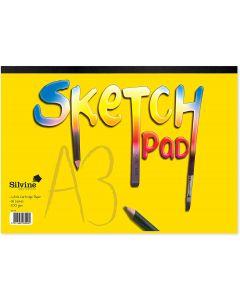 Silvine 100gsm White Cartridge Paper Sketch Pad A3