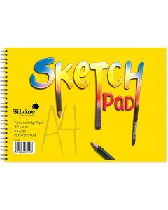 Silvine 100gsm White Cartridge Paper Wire-Bound Sketch Pad A4