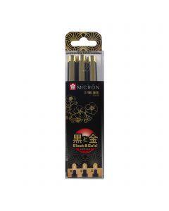Sakura Pigma Micron Black & Gold Edition Fineliner Set of 3