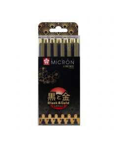 Sakura Pigma Micron Black & Gold Edition Fineliner Set of 6