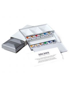 Maimeri Blu Watercolour Half Pans Metal Box Set 12 Colours