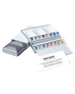 Maimeri Blu Watercolour Half Pans Metal Box Set 16 Colours