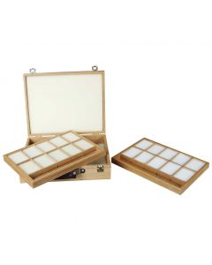 Foam-Lined Wooden Pastel Storage Box with 2 Trays