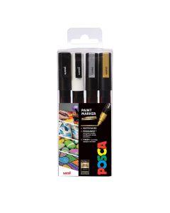 Uni POSCA Markers PC-3M Set of 4 Mono Colours