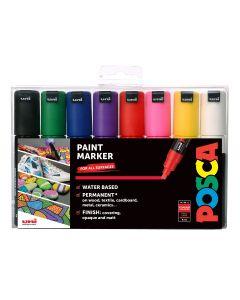 Uni POSCA PC-8K 8mm Chisel Tip Marker Set of 8 Standard Colours