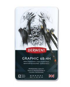 Derwent Graphic Pencils 12 Tin Set of Medium Grade 6B - 4H