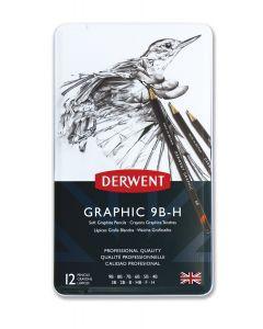 Derwent Graphic Pencil Tin Set of 12 Soft Grade 9B - H