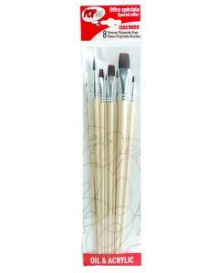 Pebeo Pop Art Oil & Acrylic Brush Set of 8 Brown Polyamide