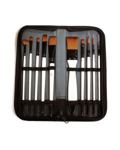 10 Assorted Synthetic Brushes in Zip Wallet I Paint Brushes I Art Supplies from The Art Shop Skipton