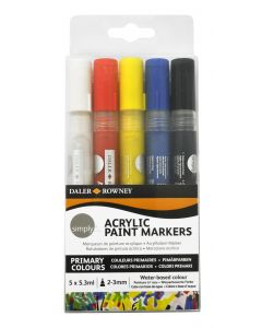 Daler Rowney Simply Acrylic Paint Marker Set of 5 White, Red, Yellow, Blue, Black